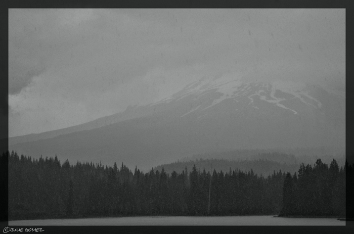 Trillium Lake—a summer cold front over Mount Hood that brought heavy rain and thunderstorms.