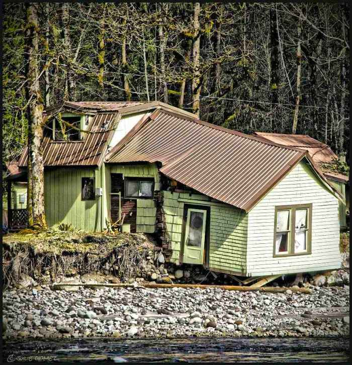 This home along the Sandy River was ripped apart and nearly swept away by an outburst flood in 2008.