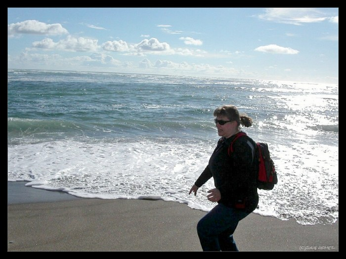 That's me!  There I go, making a mad dash to keep my feet dry from an incoming wave!